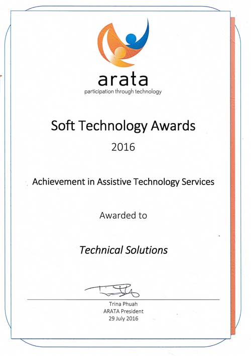 ARATA Soft Technology Award Certificate
